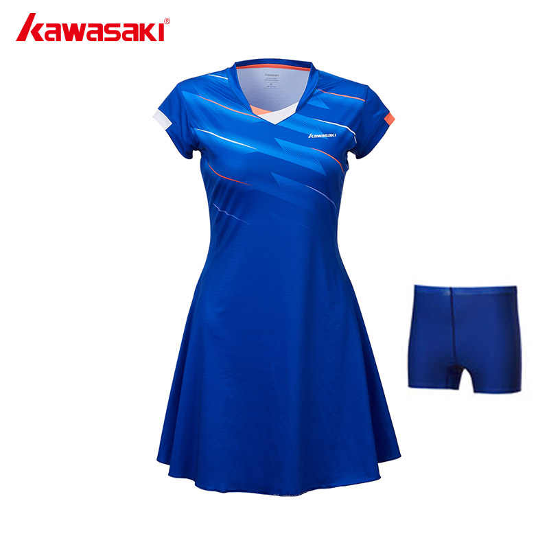 Kawasaki Brand Ladies Sport Tennis Dress for Women Girls Quick Dry Breathable Solid Tennis Dresses Sportswear Blue Red SK-T2701