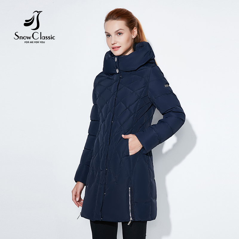 SnowClassic 2017 Women Winter Jacket Thin Short Parka Hood Coats Luxury Outerwear Argyle Solid ...