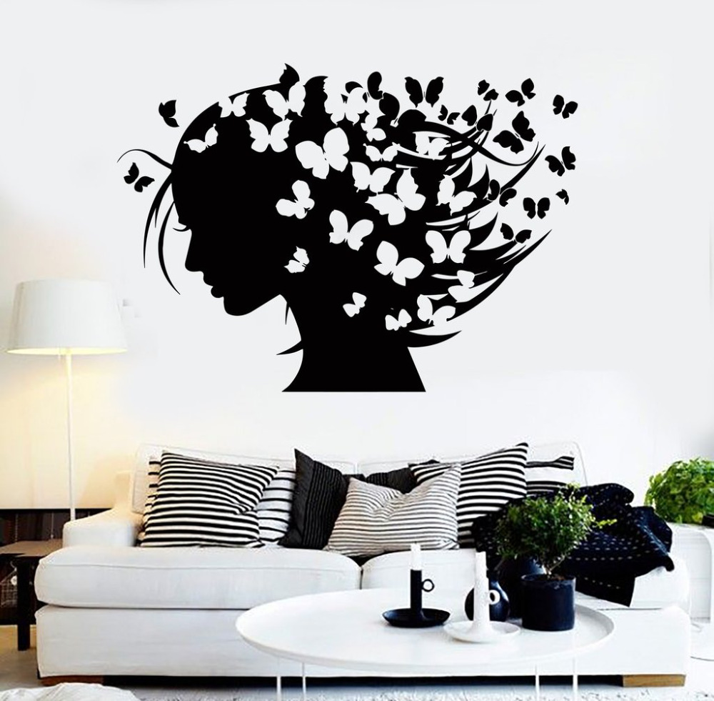 Abstract hairstyle butterflies wall stickers vinyl decal woman hair salon design creative - Stickers salon design ...