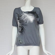 Women Casual Short Sleeve Tops Tees Sexy Off Shoulder Feather Print T-Shirt Plus Size 5XL