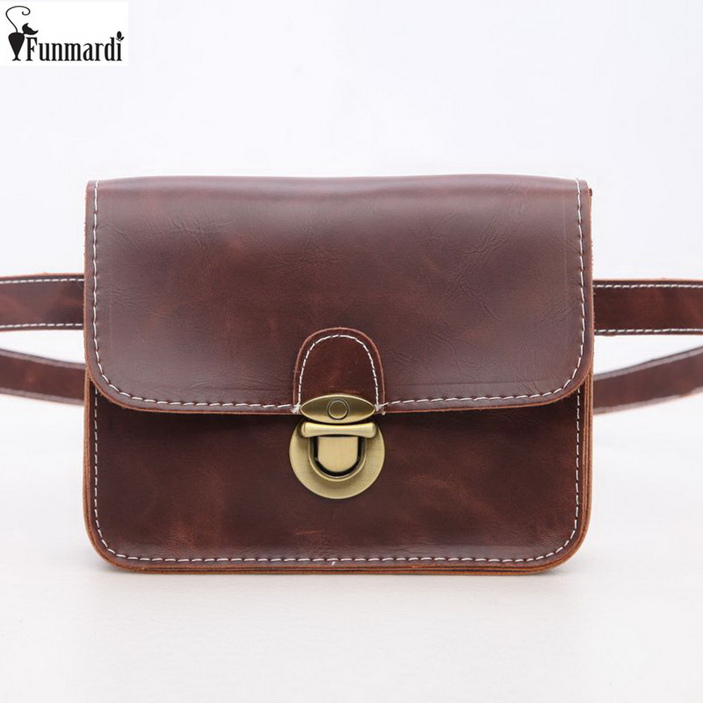 FUNMARDI Luxury Trendy Waist Packs For Women Vintage PU Leather Waist Bag New Simple Casual Bag High Quality Waist Pack WLAM0069 new high quality vintage casual 100