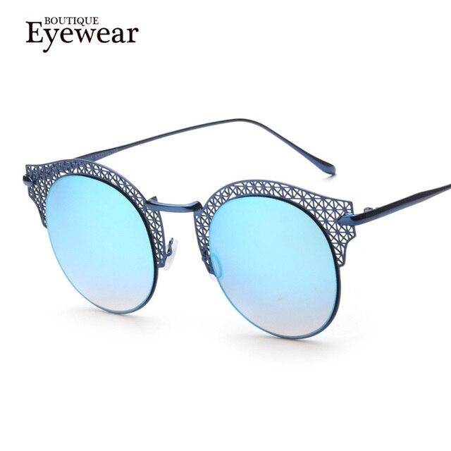 BOUTIQUE New Fashion Brand Designer Women Alloy Hollow Frame Half Metal Rim Vintage Cat Eye Sunglasses