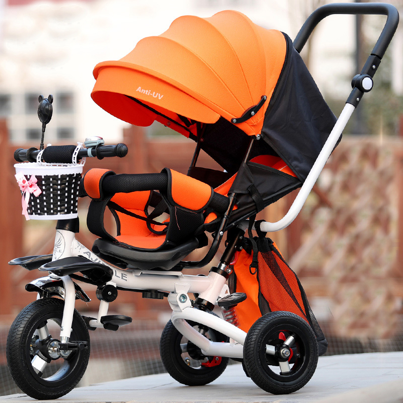 2018 Новый Детские коляски детский трехколесный велосипед пневматические шины для От 1 до 12 лет ребенок может лежать лежащего место 360 градусо...