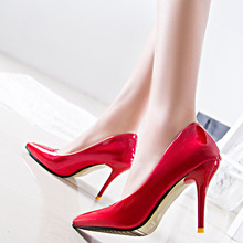 2015 Hot selling Leather stiletto high heels designer sexy high heels pump shoes women's pointed toe thin heels shoes plus size