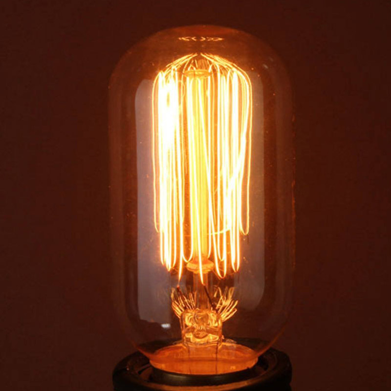 T45 Retro Vintage 110V 40W E26 Filament Straight Firework Art Edison Light Bulb Incandescent Edison Bulbs   HR