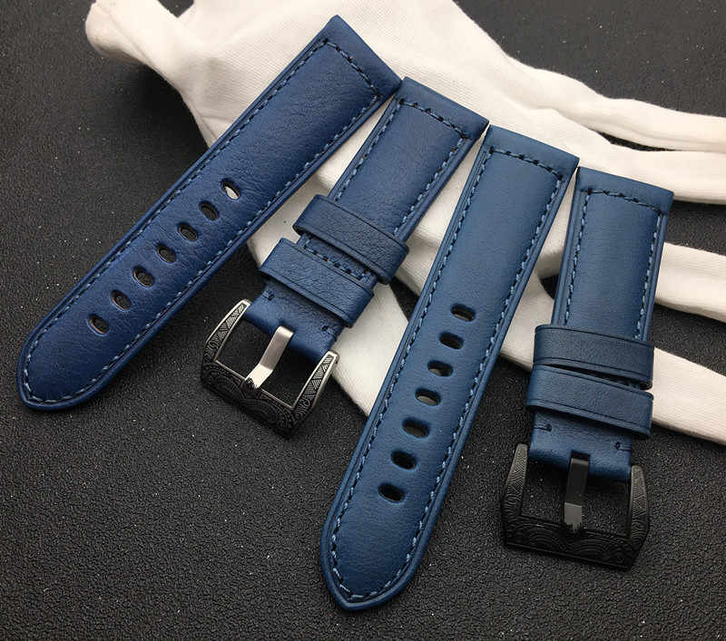 Handmade watchband 24mm Retro Blue Watch Band Genuine Leather band for Panerai strap for 44mm Dial free tools