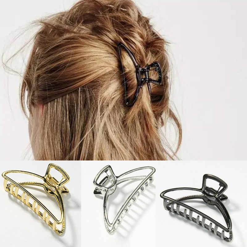 1 個女性のための金属現代のスタイリッシュなヘア爪ヘアクリップおだんごポニーテールホルダー洗濯美容サロンヘアピン