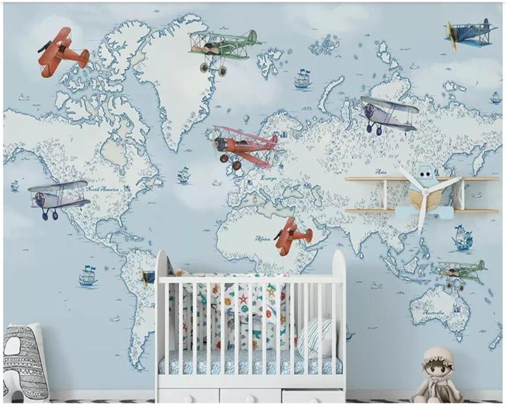 Beibehang Customized Original Hand-painted Children's Cartoon Airplane Ocean Background Wall Decorative Painting Wallpaper