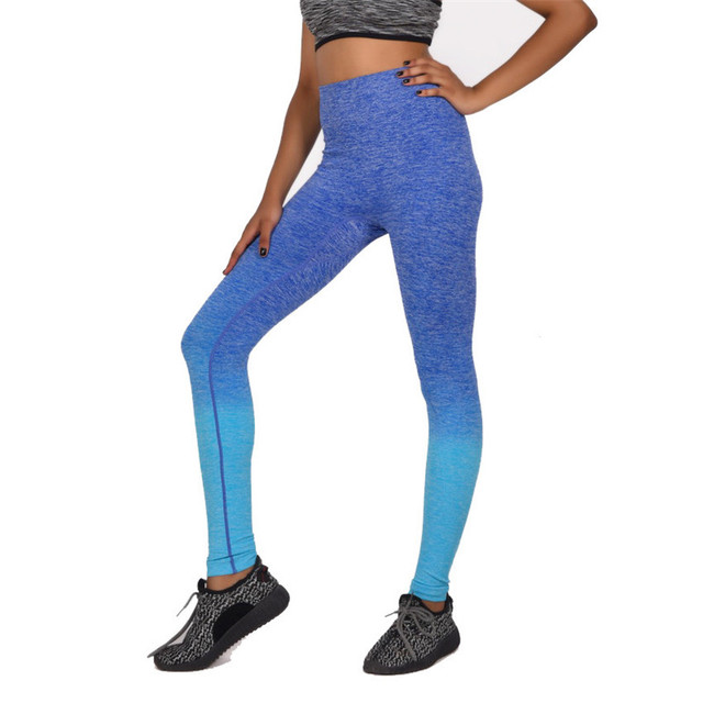 c97be7a93b14f 2018 Quick-drying Women's Gradient Leggings High Elastic Workout Women Slim  Trousers Breathable Legging Bodybuilding Clothes
