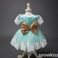 2016 Bling Do Ouro bow Lace flor vestidos da menina do bebê Vestido de Festa de Aniversário 1 anos da menina da criança pageant vestidos de baile vestido