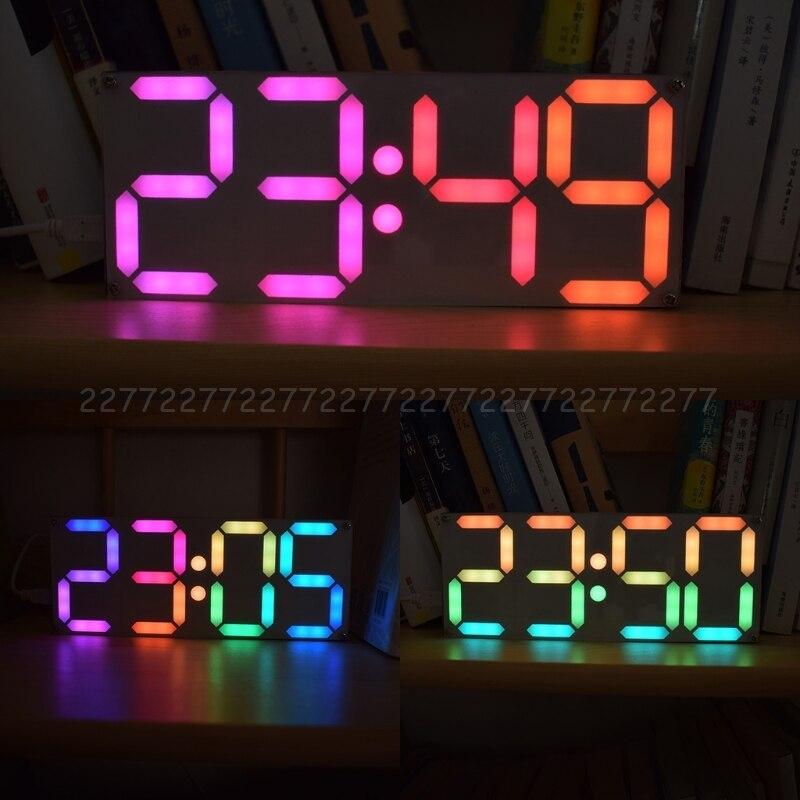 Große Inch Regenbogen Farbe Digital Rohr DS3231 Uhr DIY kit mit anpassbare farben Elektronische kit Au24 Dropship