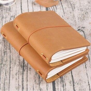 Wysokiej Jakości Skórzana Notebook Handmade Travel Journal Z Posiadaczy Kart Paszport Miejsce Wołowej Pamiętnik Sketchbook Planner