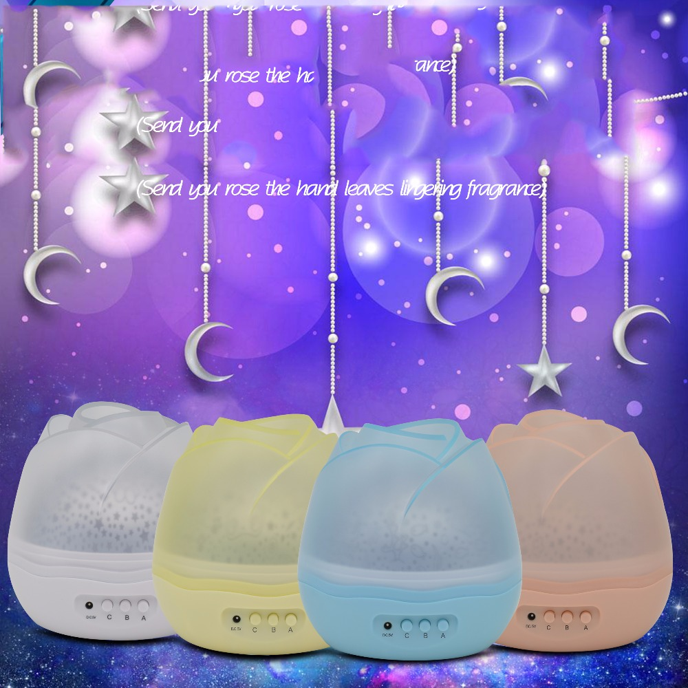 New Room Novelty Night Light Children Baby Sleep Lights Projector Lamp Rotary Flashing Starry Star Moon Sky Star Projector Led