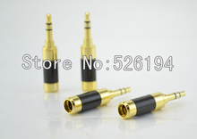 Free Shipping 100pcs Oyaide style Gold Plated Carbon Fiber 3.5mm Stereo Mini Jack Plug For DIY Headphone cable