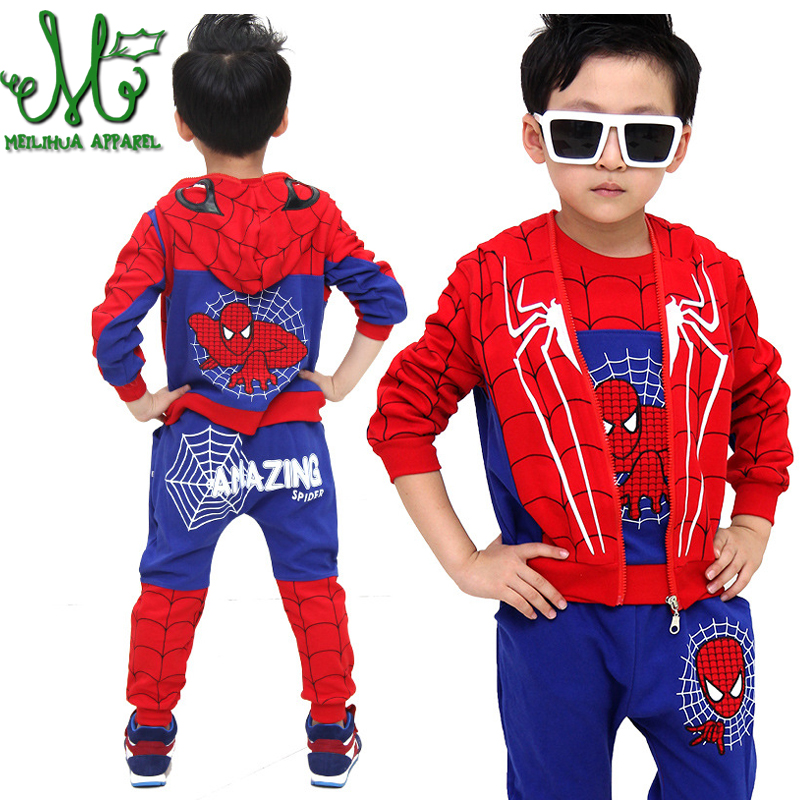 Spiderman Sets Autumn Boys Clothes Sets Long Sleeve Children Clothing Hooded Outfits Baby Boy Sport Suits Costume For Kids 3 Pcs keaiyouhuo 2017 autumn boys girls clothes sets batman sport suit children clothing girls sets costume for kids baby boy clothes page 8