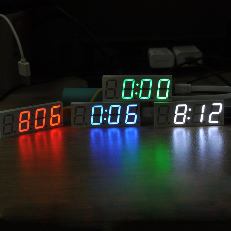 DS3231 Electronic DIY 0.8inch Dot Matrix LED Clock Kit Digital Display Green Red Blue White Light 5V Mciro USB Car Clock image