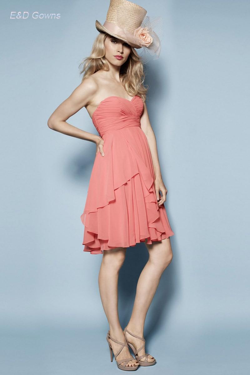 Por encargo color Coral dama de honor vestidos del hombro plisado ...