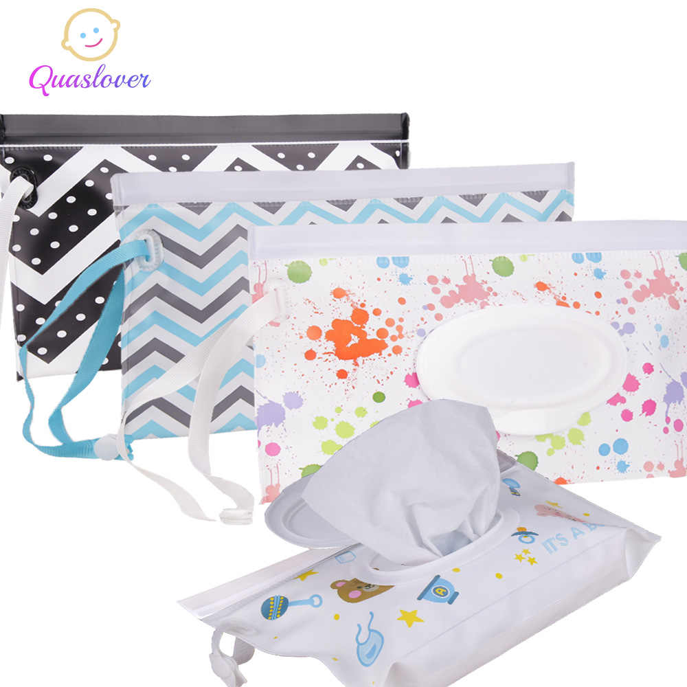 Quaslover Eco-Friendly Baby Wipes Box Wet Wipe Box Cleaning Wipes Carrying Bag Clamshell Snap Strap Wipe Container Case