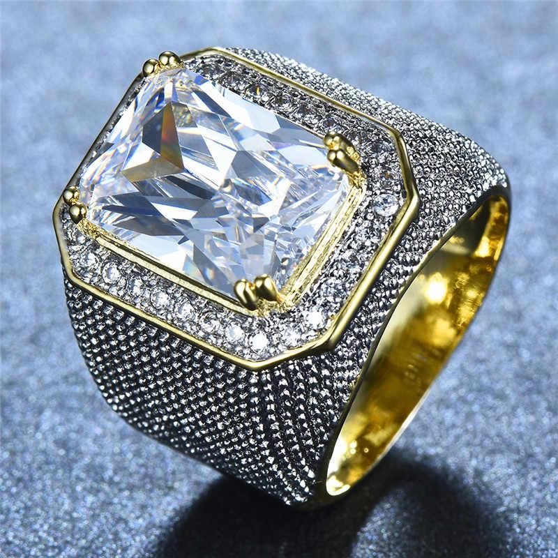 Gorgeous Big ชายหญิงสีชมพูสีเหลืองสีฟ้าสีขาวแหวนคริสตัล Zircon Stone Gold หมั้นแหวนผู้ชายผู้หญิงขนาดใหญ่แหวน