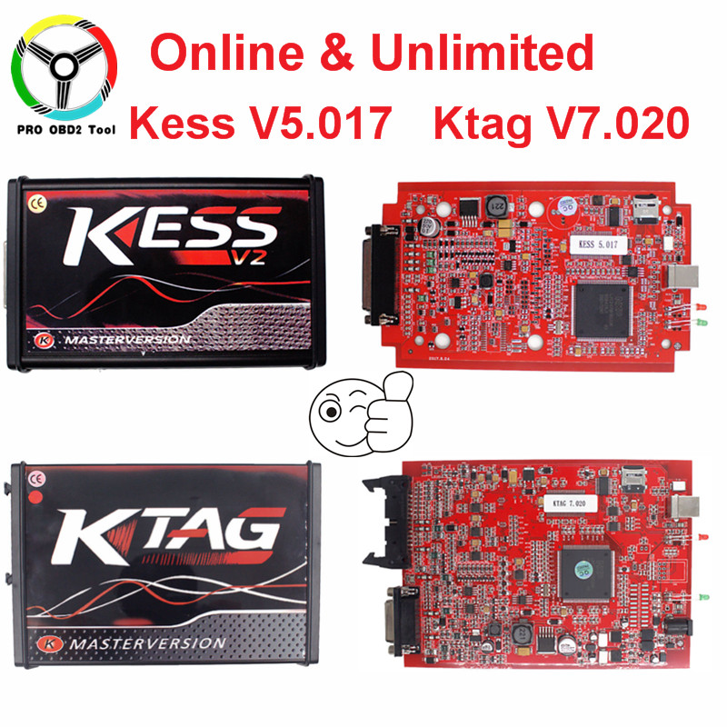 2018 Newest Online EU Red Kess V5.017 Kess V2 V5.017 Master ECU Chip Tuning Tool No Token Ktag V7.020 V2.23 ECU Programmer new version v2 13 ktag k tag firmware v6 070 ecu programming tool with unlimited token scanner for car diagnosis