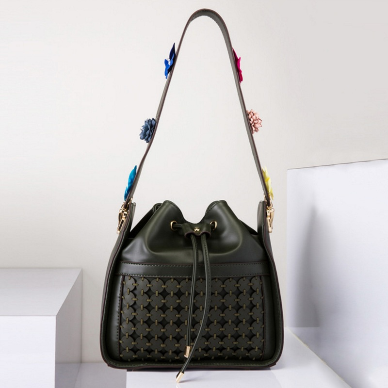 Fashion Women Weave PU Leather Drawstring Bucket Bag Flower Shoulder Bags Ladies Messenger Crossbody Bag Floral Handbag Decals