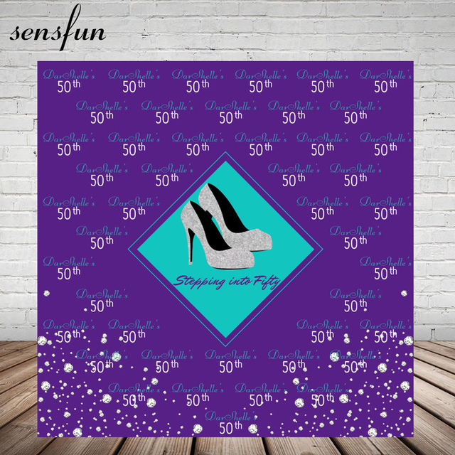 Sensfun Purple Theme Women Birthday Party Backdrop Glitter Silver Heels Photography Backgrounds For Photo Studio Vinyl