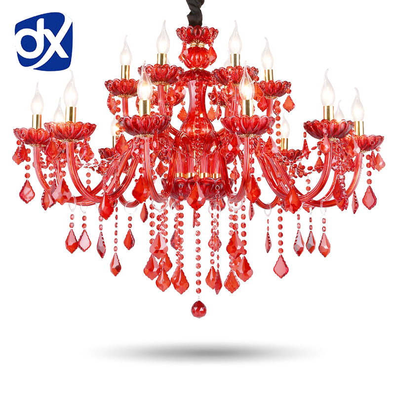 newly red k9 crystal chandelier lustre crystal chandelier optional lustres de cristal chandelier ac guaranteed free shipping High Quality Red K9 Crystal Chandelier Lustre Crystal Chandeliers Light Lustres De Cristal Chandelier LED Villa Red Lamp