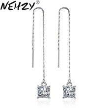 NEHZY Argento lungo con frange orecchini delle donne dei monili di modo di temperamento di lusso ultra - flash a quattro orecchini di cristallo