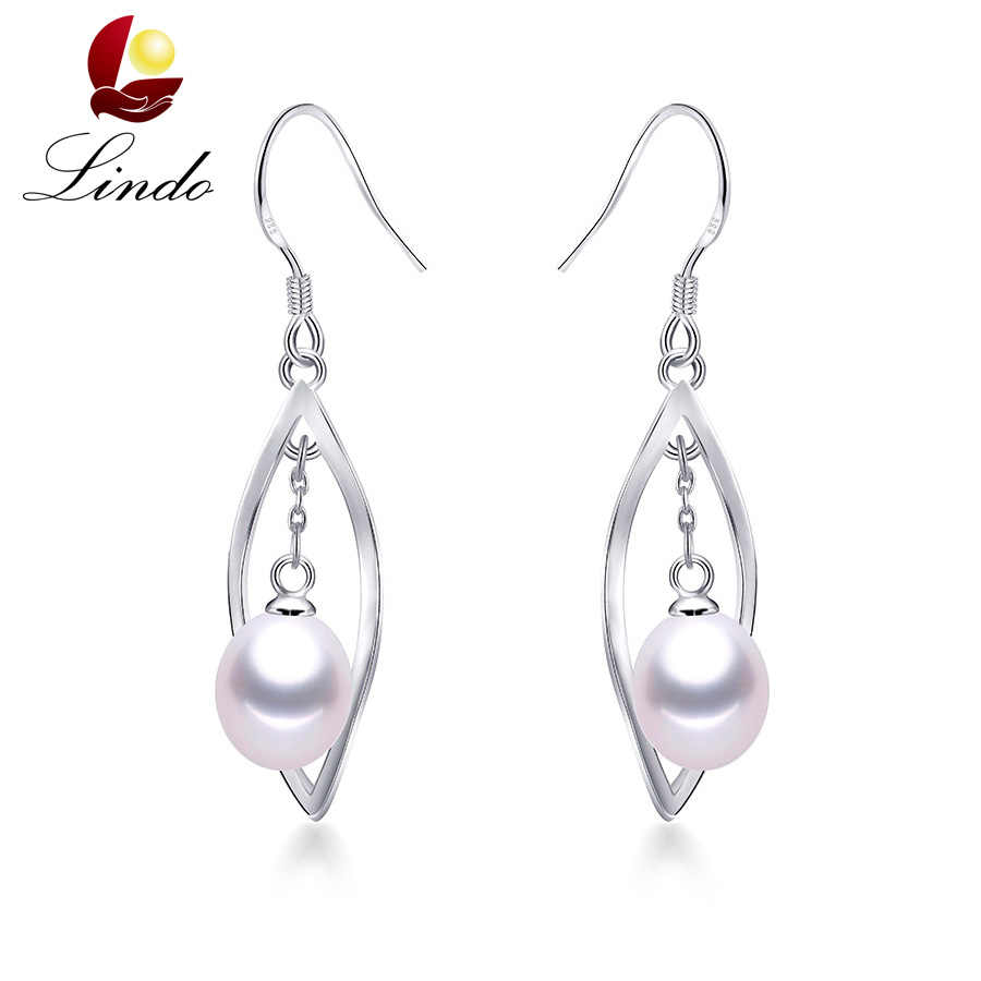 Lindo Pearl Real High Luster Natural Freshwater Pearl Drop Earrings For Women Good Quality Silver 925 Wedding Jewelry 2019
