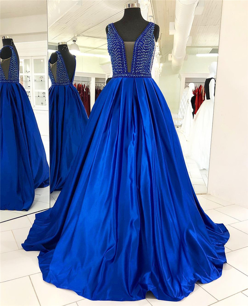 Royal Blue   Prom     Dresses   2019 African Girls Backless Satin Long Sweep Train Plus Size Evening Gowns Free Shipping robe de soiree