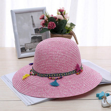 c4898ce554e03 Fashion 100% Handwork Child Summer Straw Sun Hat Girl Boy Boho Beach  Pendant Hat Sunhat
