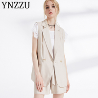 YNZZU Elegant Blazer Vest Women Waistcoat 2019 Autumn Notched Collar OL Coat Sleeveless Female Blazer Jacket A1001