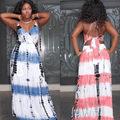 Womens Sexy Blue/Pink Print Sleeveless Halter Back Lace-up V-Neck Long Dresses Evening Party Clothes