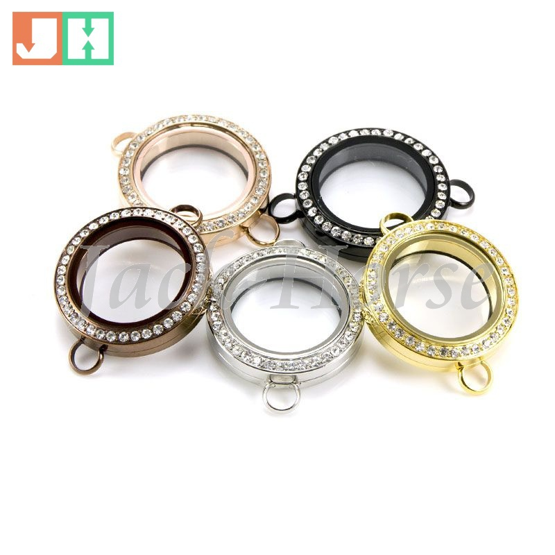 High quality 25mm twist locket different crystal locket 316L Stainless steel floating locket for bracelet