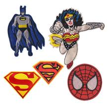 4f281a78b26f 1 PC Batman Wonder Woman Spiderman parche bordado hierro en Superman  parches pegatina para ropa costura en Jeans apliques insign.