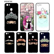 Black Silicon Soft Phone Case Hijab lovely woman cartoon For OPPO F5 F7 F9 A5 A7 R9S R15 R17 Bag