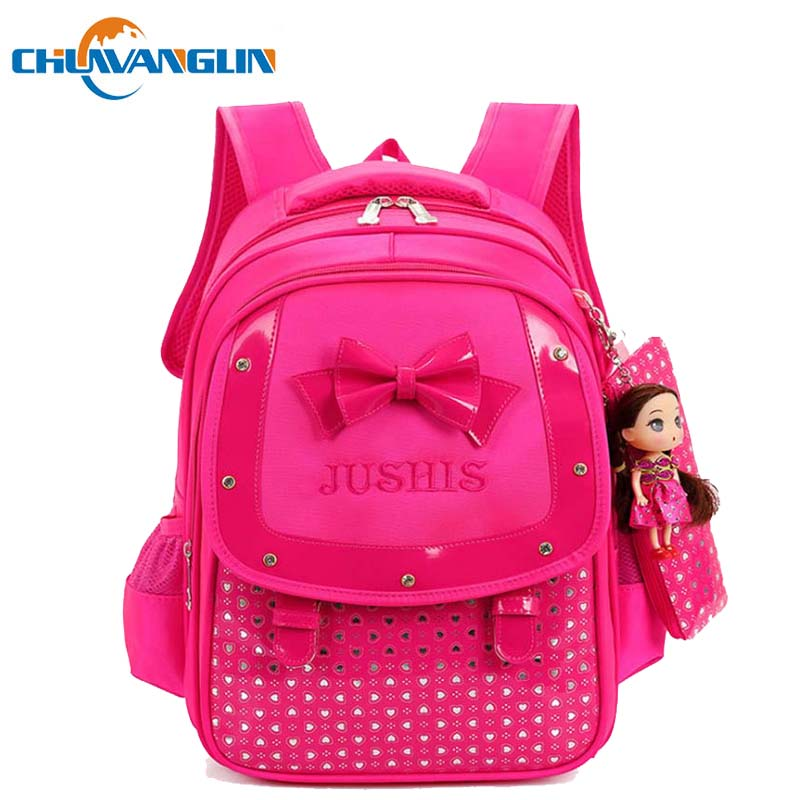 Chuwanglin Children's Backpack Bow Cute Girl's Backpacks 5-10 Years  School Bags Preppy Style Primary Combination Backpack A5077