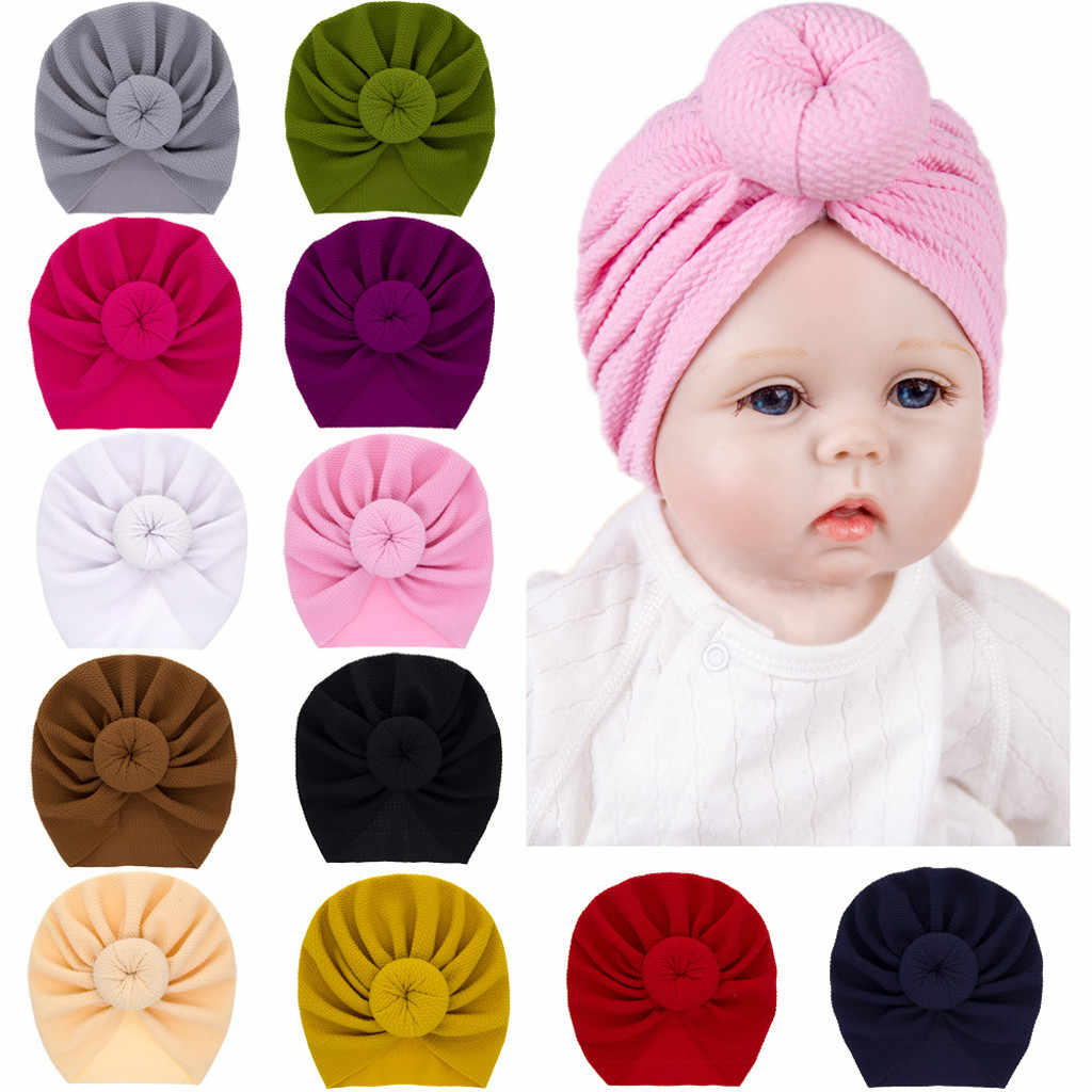 Baby Turban Toddler Kids Boy Girl India Hat Lovely Soft Cotton Cap Candy Solid newborn photography props Spring Child Beanie