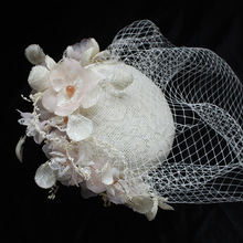 2bed3e12 2018 Elegant Woman Wedding Hats and Fascinators Beige Linen Wedding Party  Veil Hair Handmade Flowers Wedding