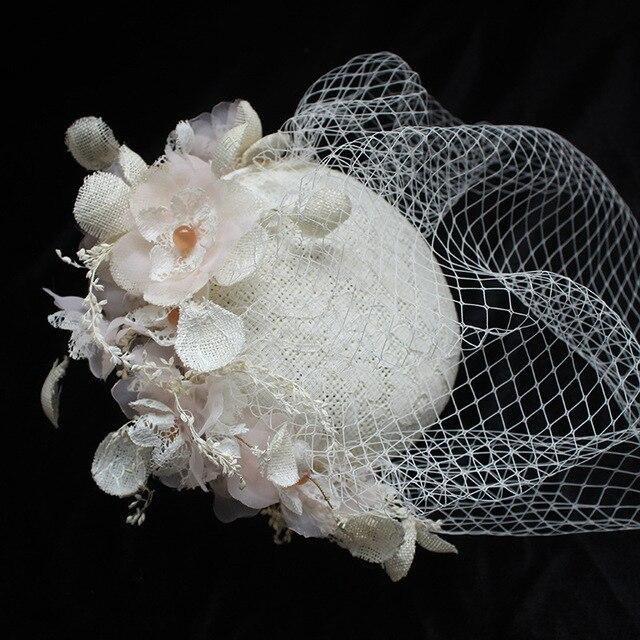 2020 femme élégante mariage chapeaux et Fascinators Beige lin mariage fête voile cheveux à la main fleurs accessoires de mariage