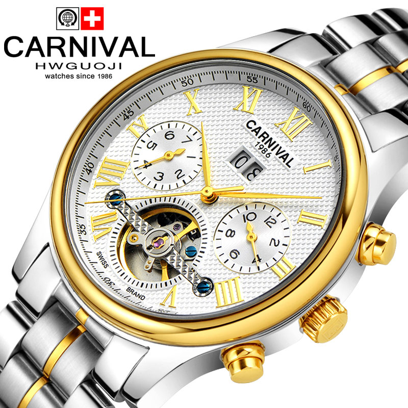 Carnival Men's waterproof tourbillon Watch Men gold Stainless steel Sapphire Glass Automatic Mechanical Watch relogio masculine