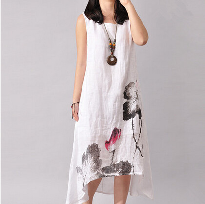 Aliexpress.com : Buy Brand linen summer dress 2017 vintage style ...