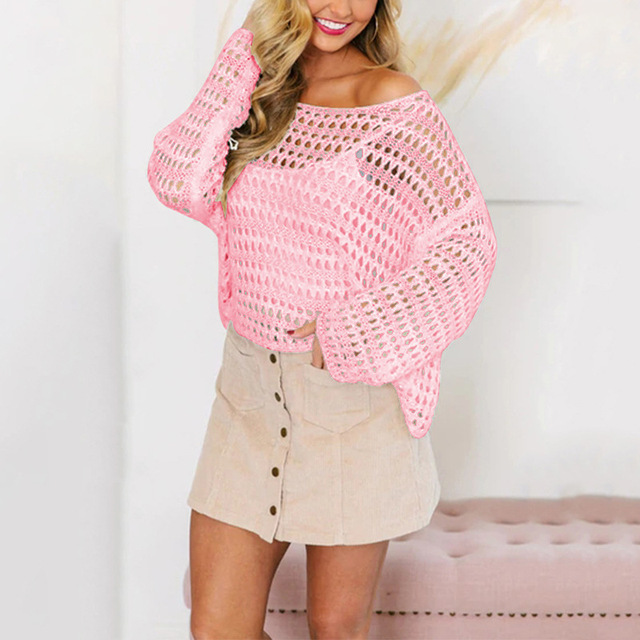 2019 Spring Summer Women Mesh Knitted Sweaters Openwork Pullovers Woman Fashion Beach OL Clothing Female Tops Loose Knitting