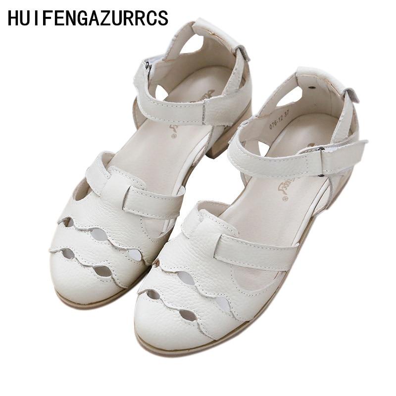 HUIFENGAZURRCS Genuine Leather pure handmade Sandals the retro art mori girl Flats shoes Rome classic Casual