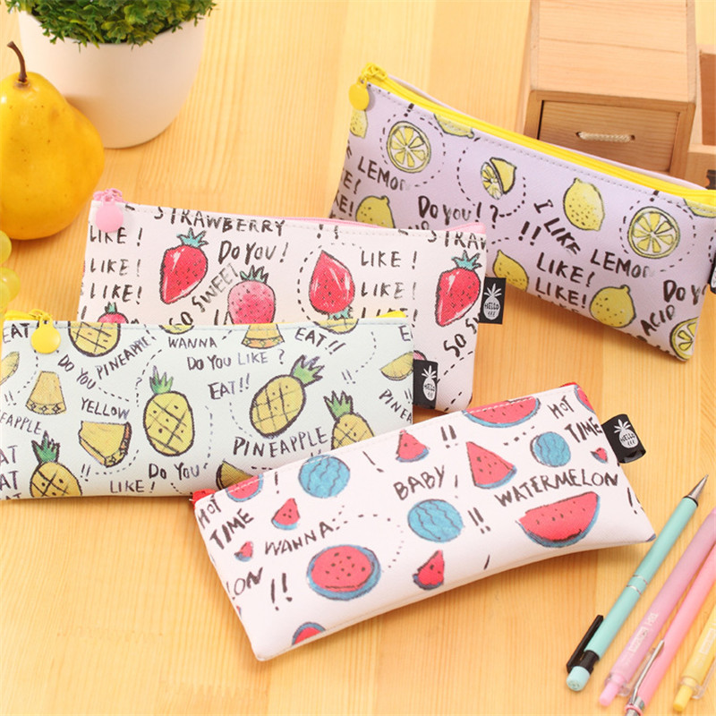 Cute Watermelon Strawberry Pineapple Pencil Case Stationery Store Pen Bag Pouch School Holder Pencilcase Purse Study Supply Bts