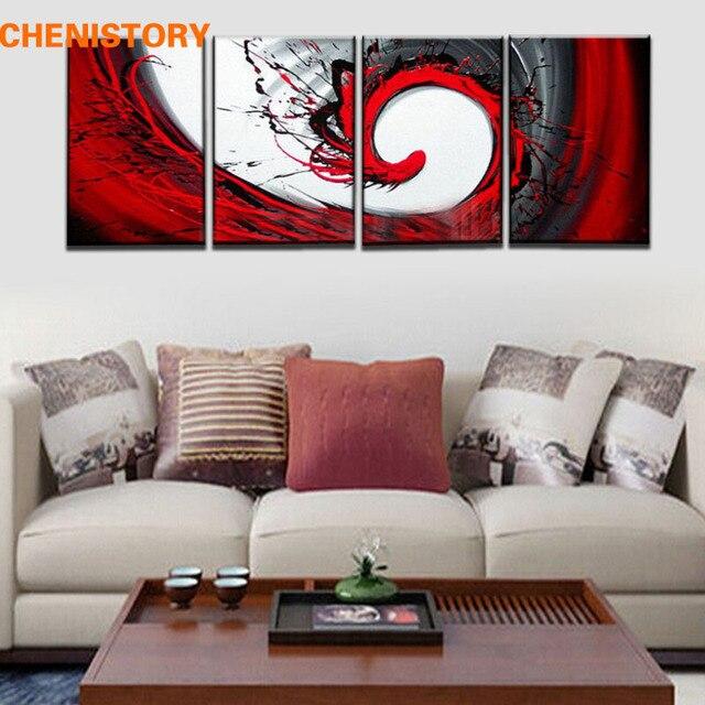 Sans cadre 4 Panneau Peint À La Main Abstraite Peinture Noir Blanc ...