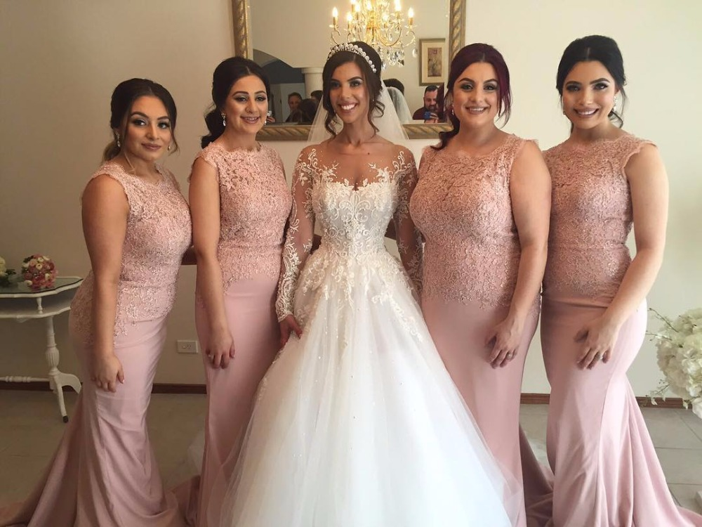 Online Get Cheap Dusty Pink Lace Bridesmaid Dresses -Aliexpress ...