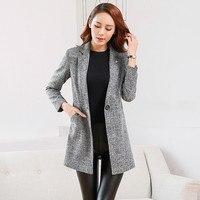 2018 Elegant Blazer Spring Autumn Women Plus Size Formal Plaid Tunic Blazers Office Suit Jackets Long Blazer Ladies Coat A1340