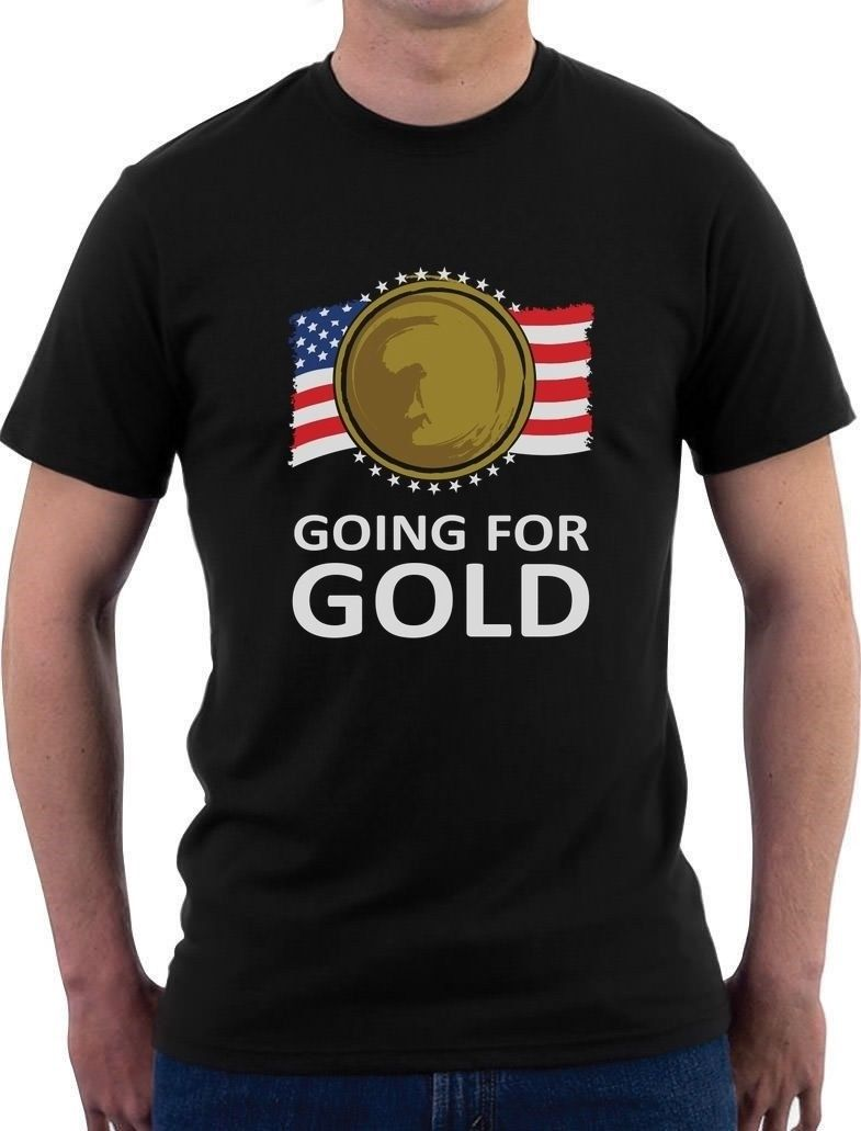 Going for Gold American Flag USA Team T-Shirt Support T Shirt Mens Fashion Men Style Short Sleeve Print Tee Shirt