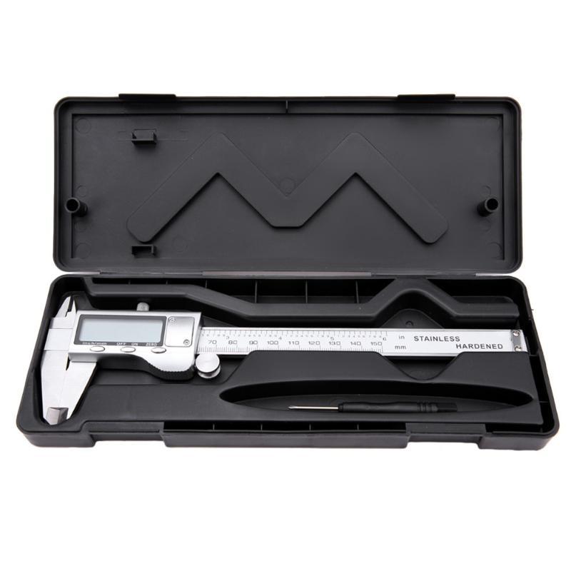 0-150mm 6 inch LCD Electronic Calipers Stainless Steel Digital Vernier Caliper Gauge Micrometer Gauge Measuring Tools